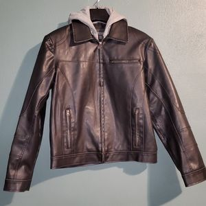 Kenneth Cole Reaction Men's Faux Leather Jacket with Hood (M)
